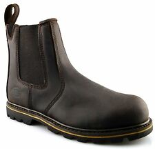 Mens Dickies Leather Dealer Chelsea Slip On Safety Ankle Work Boots Shoes Size