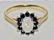9ct giallo oro e argento Naturale Opale & Zaffiro Anello di Cluster Donna-Taglia O