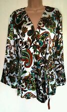 NEW BANKE B JADE GREEN CREAM SILK SATIN TIE PAISLEY KAFTAN TUNIC TOP SIZE 14/16