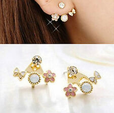 A pair Korean Style Lovely Butterfly Flower Crystal Pink Earrings Stud Earring