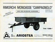 """Pubblicità WERBUNG - 1962 RIMORCHI MONOASSE """"CAMPAGNOLO"""" SERIE CON SOLLEVATORI"""