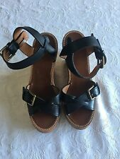 Isabel Marant Black Leather Wedge Sandals Size 38