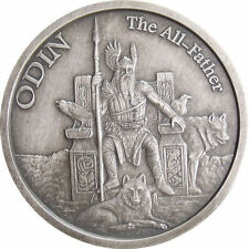 1 OZ ODIN ANTIQUE .999 Silver w/ COA VALKYRIE NORSE GODS SERIES #1 VIKING