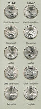 2014 P&D ATB NATIONAL PARK QUARTERS - ALL 10 COINS - BRILLIANT UNCIRCULATED