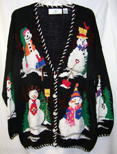 CHRISTMAS L Sweater Snowman Beaded Tree Black DESIGN OPTIONS Ugly Cardigan
