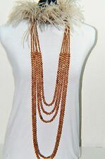 Brunello Cucinelli Feather Wood Bead Layered Necklace