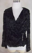 Xscape Joanna Chen Wrap Blouse Top Size 12 Black Velvet Burnout