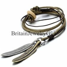 Vintage Alloy Angel Feather Pendant Leather Cord Mens Womens Chain Necklace