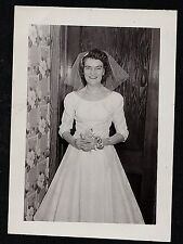 Old Vintage Antique Photograph Wedding Bride Standing in Retro Room Wallpaper