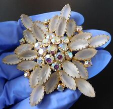 HI QUALITY JULIANA FROSTED ART GLASS & AB CRYSTAL RHINESTONE BROOCH PIN #859A