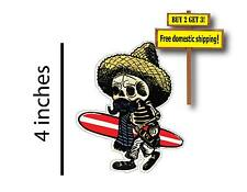 Day of the Dead Walking Skeleton Surfer Paddle Board Car Truck Sticker Decal