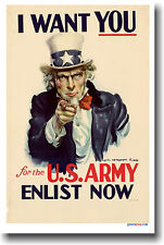 I Want You! U.S. Army - Enlist Now - Vintage NEW POSTER