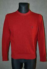 POLO Ralph Lauren Red 100% Lambs Wool Crew Neck Sweater Jumper Cardigan Top Sz M