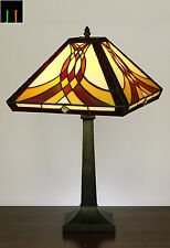 Tiffany Swooping Pattern Misson Style Stained Glass Table Lamp Light Leadlight