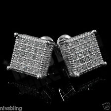 18k White Gold ICED OUT Micropave Stud Kite Square HipHop AAA CZ Mens Earring 4S