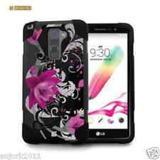 Lotus Shockproof Case w/Stand Cover for LG Stylo 2 Plus MS550