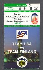 Team USA vs Team Finland 1991 Canada Cup hockey ticket stub from Chicago Stadium