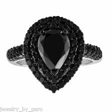 4.01 CARAT PEAR SHAPE BLACK DIAMOND ENGAGEMENT RING 14K WHITE GOLD HALO PAVE