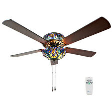 River of Goods Tiffany Style Stained Glass Halston Ceiling Fan - Blue
