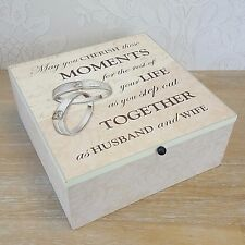 Memory Keepsake Cream Ivory Wooden Moments Memories Box Wedding Gift