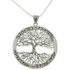 925 Sterling Silver Ornate Ancient Script Family Tree of Life Charm Pendant