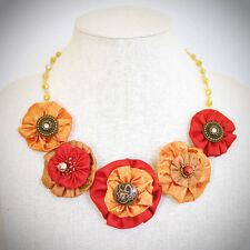 Statement Necklace Orange Red Silk Floral Peony Upcycle Handmade Crystal Bead