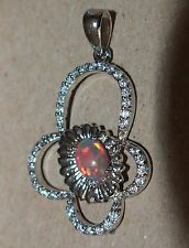 1 fire opal Cz necklace pendant gemstone silver jewelry elegant modern cocktail