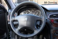 FOR PEUGEOT 607 REAL BLACK ITALIAN LEATHER STEERING WHEEL COVER NEW
