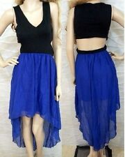 NWT bebe black blue cutout back sheer hi low maxi v neck top dress M medium 6 8