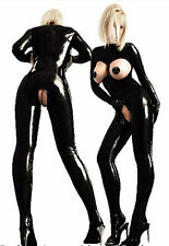Negro PVC Body catsut Crotchless Prendas para club nocturno Wet Look se adapta a 8/10/12