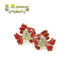Betsey Johnson Red Fish Open Mouth Fashion Gold Plated Crystal  Earrings Free Sh