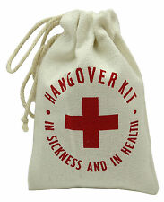 Hangover Kit-In Sickness And In Health Printed Party Canvas Favor Bags 10 Pcs