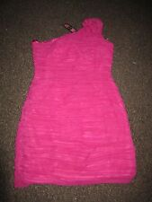 BNWT Rare TopShop Dress UK 12 Deep Pink Pleated Riffle One Shoulder £65 Party
