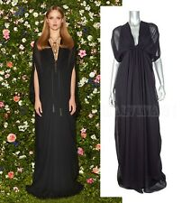 $2,900 GUCCI DRESS GOWN BLACK FLOWING SILK TASSELS BELT sz IT 40 UT 4