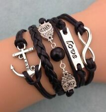 NEW Infinity Owl Love anchor Friendship Leather Charm Bracelet Silver Cute