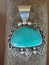 Large Native American Nickel Silver Turquoise Pendant Albert Cleveland