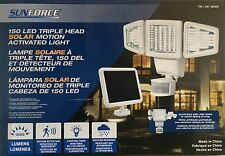 Sunforce Solar 150LED TRIPLE HEAD Motion Sensor Security Light with Solar Panel
