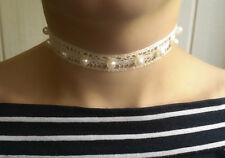 Ribbon choker vintage white lace pearl OOAK handmade embroidered necklace