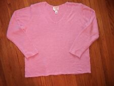TALBOTS Womens 1X Mauve Dusty Rose LS Acrylic V Neck Sweater GENTLY WORN