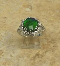 RARITIES STERLING SILVER AMMOLITE TRIPLET WHITE ZIRCON RING SIZE 7 HSN SOLD OUT