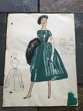 VINTAGE HAUTE COUTRE ORIGINAL HAND PAINTED DESIGNER FASHION SKETCH WITH SWATCH