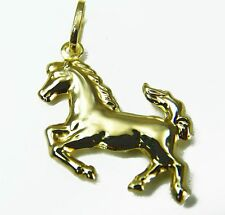 9ct Yellow Gold Prancing Horse Stallion Charm / Pendant & Luxury Velvet Pouch