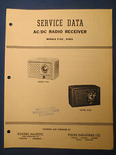 ROGERS MAJESTIC PHILIPS P-152 R-552 RADIO SERVICE MANUAL ORIGINAL FACTORY ISSUE