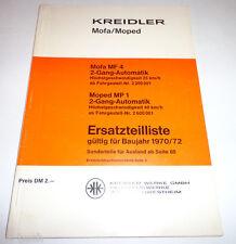 Ersatzteilliste Kreidler Mofa MF 4 2-Gang / Moped MP 1, 2-Gang 1970 / 1972