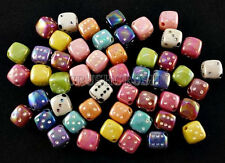 50pcs 8mm Metallic Color DICE Cube Beads Charms Pendant Rolling Number Game F458