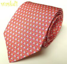 SALVATORE FERRAGAMO pink White FROGS & yellow balloons silk MENS tie NWT Authent