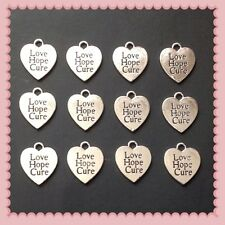 12 Silvertone Love Hope Cure Cancer Awareness Charms Jewelry Bracelet Making P4