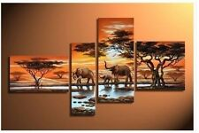 MODERN ABSTRACT HUGE WALL ART OIL PAINTING ON CANVAS:African elephants No Framed