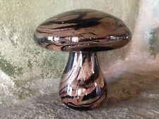 MURANO STUDIO ART GLASS BLACK & SPARKLING GOLD SWIRL MUSHROOM PAPERWEIGHT
