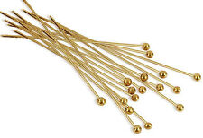 """(20) 22K Gold Plated Head Pin 1 1/2"""" Long 2mm Ball 24 Gauge Wire Beading Craft"""